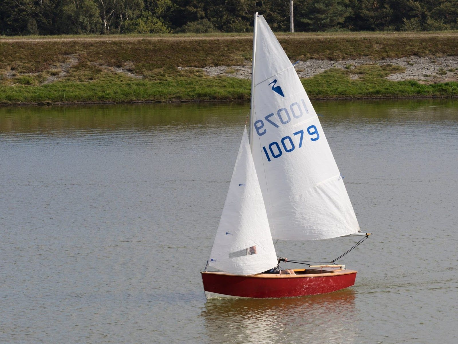 Heron sailing dinghy sail number 10079 sailing on calm lake